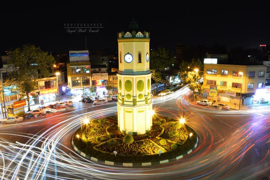 هنر عکاسی عکاسی در شب Seyed hadi emadi نمایی از میدان ساعت شهر ساری