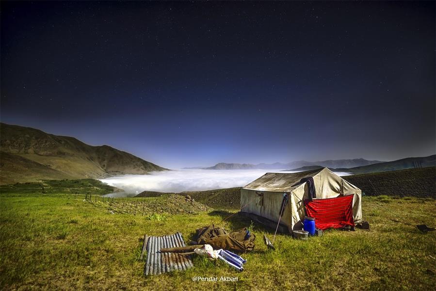 هنر عکاسی عکاسی لنداسکیپ منظره Pendar Akbari عکاسی از دریای ابر از پناهگاه اول ضلع جنوبی دماوند روستای ناندل در زیر ابر و اقامتگاه چوپانان 15 ثانیه نوردهی