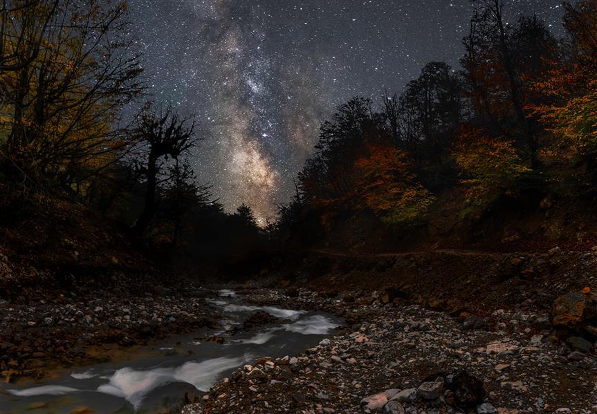 هنر عکاسی عکاسی لنداسکیپ منظره shahriar کهکشان راه شیری بر فراز رودخانه
