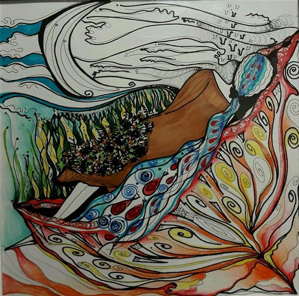 هنر نقاشی و گرافیک تصویرسازی مریم ده نمکی #تصویرسازی_انتزاعی  #آرامش_سکوت(دختری خوابیده در گل )
