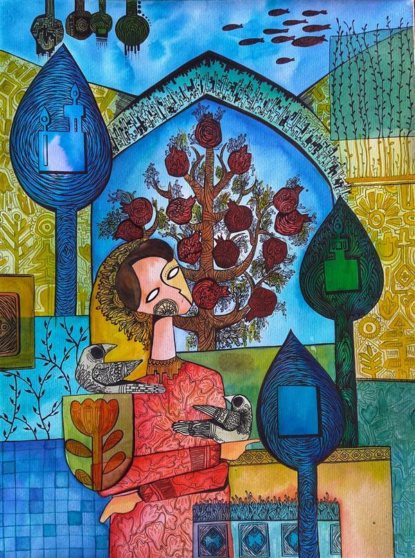 هنر نقاشی و گرافیک تصویرسازی Elahe Afshar انار بانو و پسرهایش ، #تصویرسازی #فروخته_شد