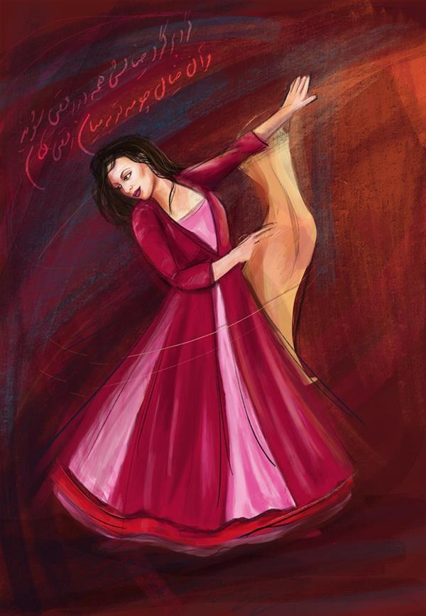 هنر نقاشی و گرافیک تصویرسازی مژده سیادت #نقاشی دیجیتال # رقص #A3