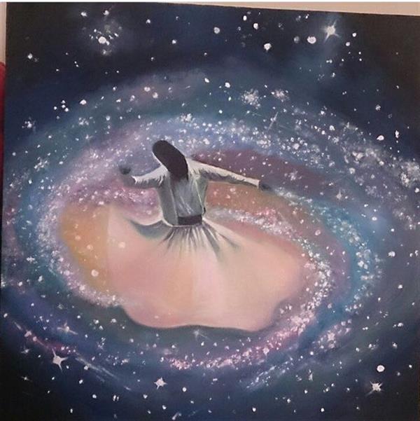 هنر نقاشی و گرافیک تصویرسازی لیلا خامدا رنگ ررغن روی بوم در ابعاد ٣٠*٣٠  رقص سماء