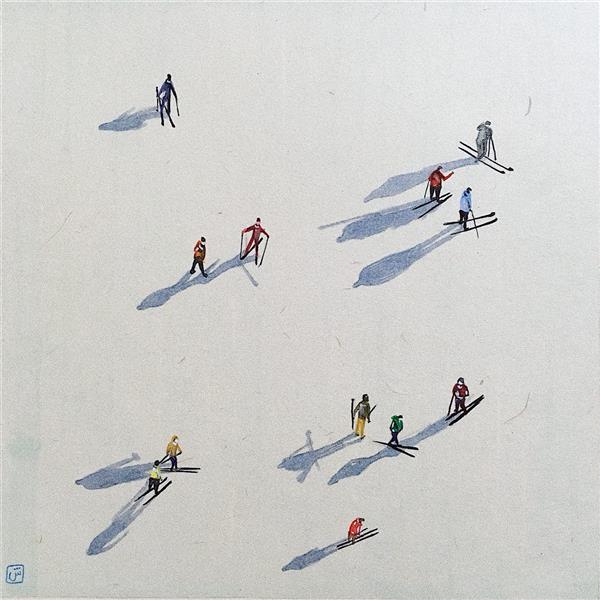 هنر نقاشی و گرافیک تصویرسازی شیوا کهن #برف و # سایه مردم من