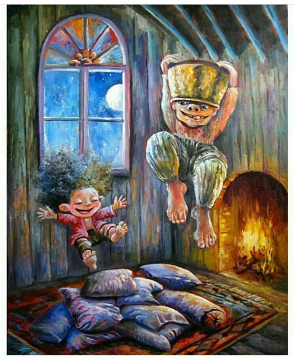 هنر نقاشی و گرافیک تصویرسازی سیده معصومه حسینی فریمی از تصویر سازی غول دیگ به سر با تکنیک رنگ و روغن 80×60