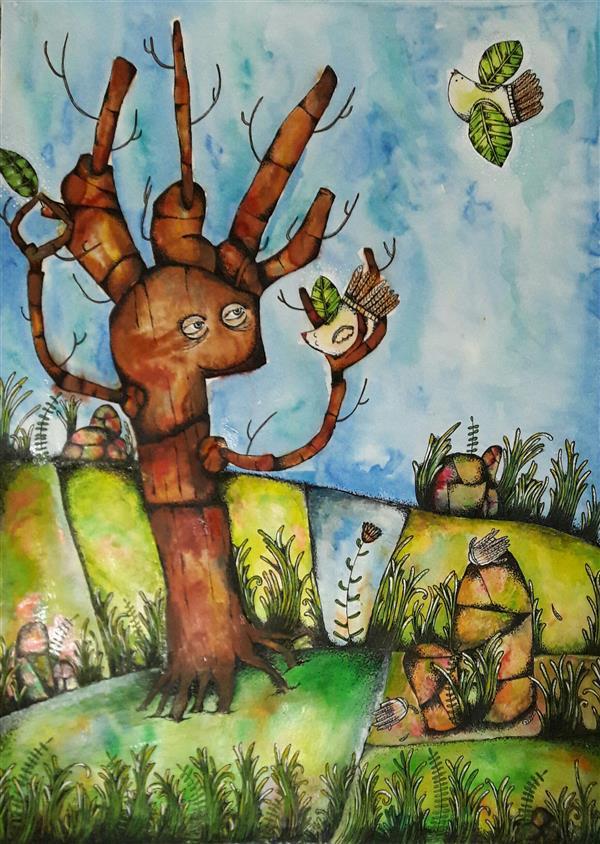 هنر نقاشی و گرافیک تصویرسازی عاطفه محمدی درخت بخشنده #اهداءعضو سایز:۵۰×۷۰