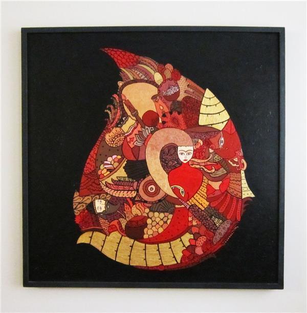 هنر نقاشی و گرافیک تصویرسازی محسن برزگر عشق موضوع تصویرسازی ، جشنهای ایرانی ست که بصورت انتزاعی به تصویر کشیده شده است .