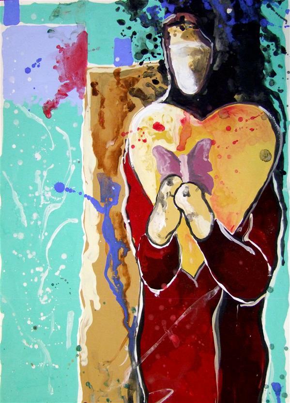 هنر نقاشی و گرافیک تصویرسازی مدینه حسین زاده #زن و زندگی #عشق متریال : مقوا  تکنیک :اکرولیک 21*29
