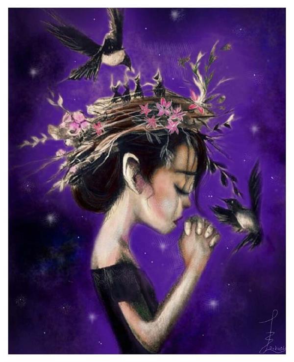 هنر نقاشی و گرافیک تصویرسازی مهلاسهرابی فروغ #خدایا من فقط تو رو باور دارم