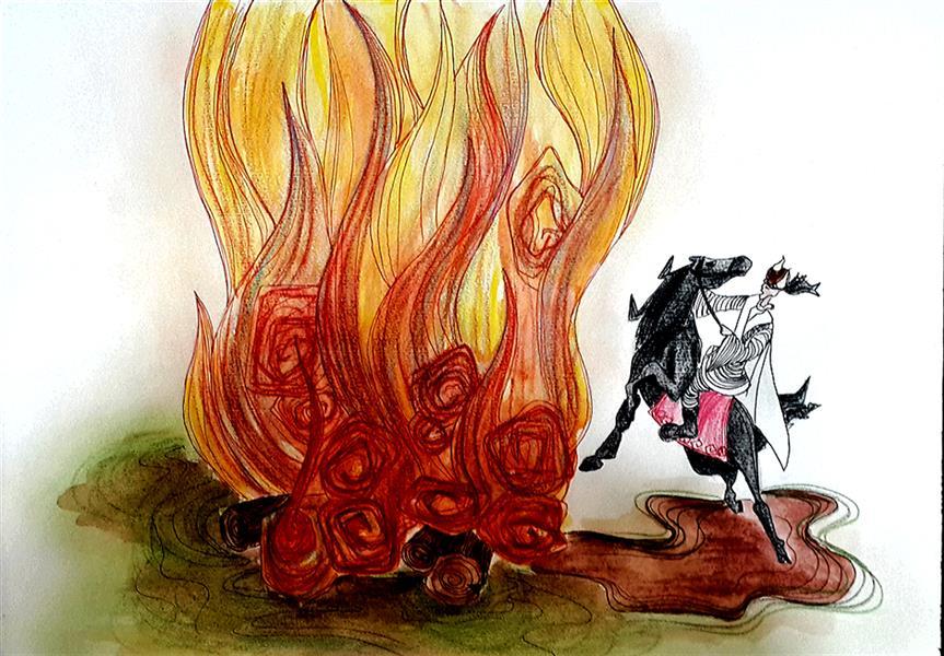 هنر نقاشی و گرافیک تصویرسازی مرضیه امینی تصویرسازی یک فریم از داستان های شاهنامه، سیاوش در آتش