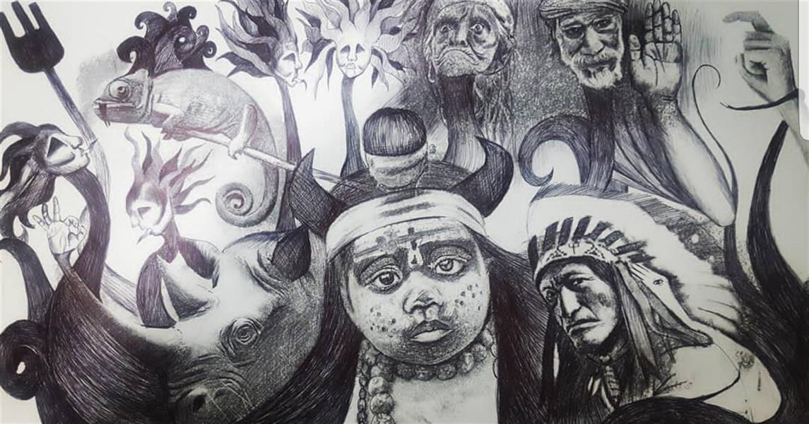هنر نقاشی و گرافیک تصویرسازی یاسمن خاکباز #چاپ دستی#خودکار مشکی#یاسمن