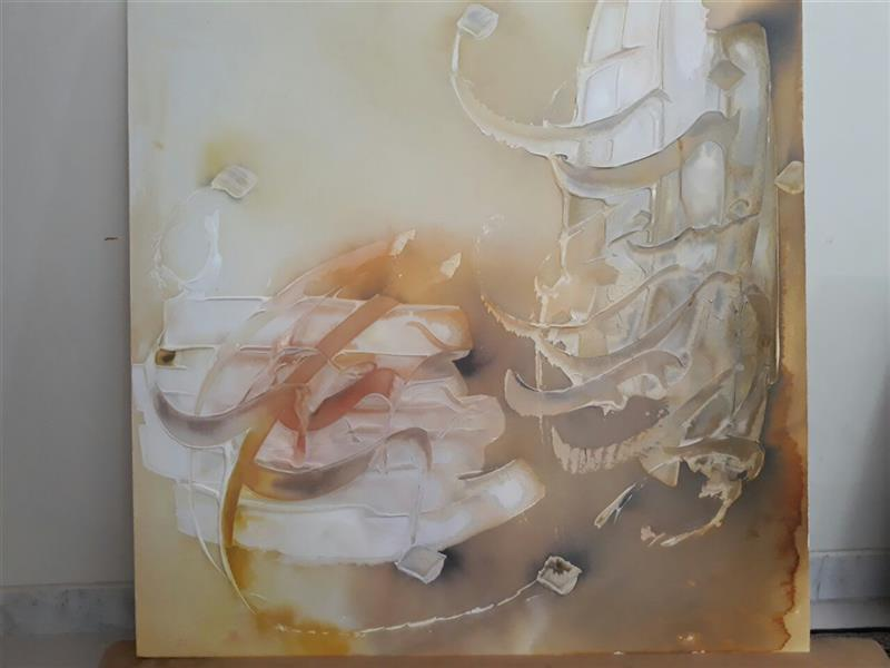 هنر خوشنویسی اشعار مولانا مطهره عموشاهی بنده عشق        بوم دیپ80*80         متریال:ترکیب موادومرکب روی بوم