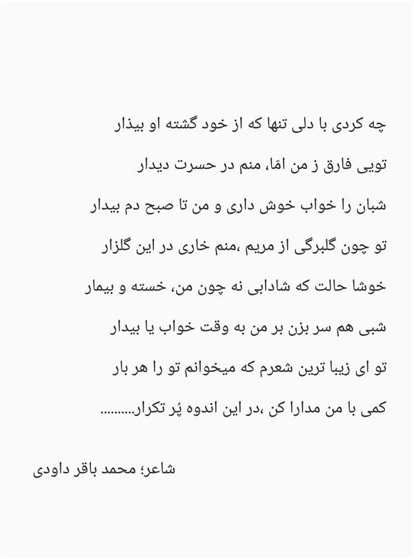 هنر شعر و داستان شعر عاشقانه محمد باقر داودی