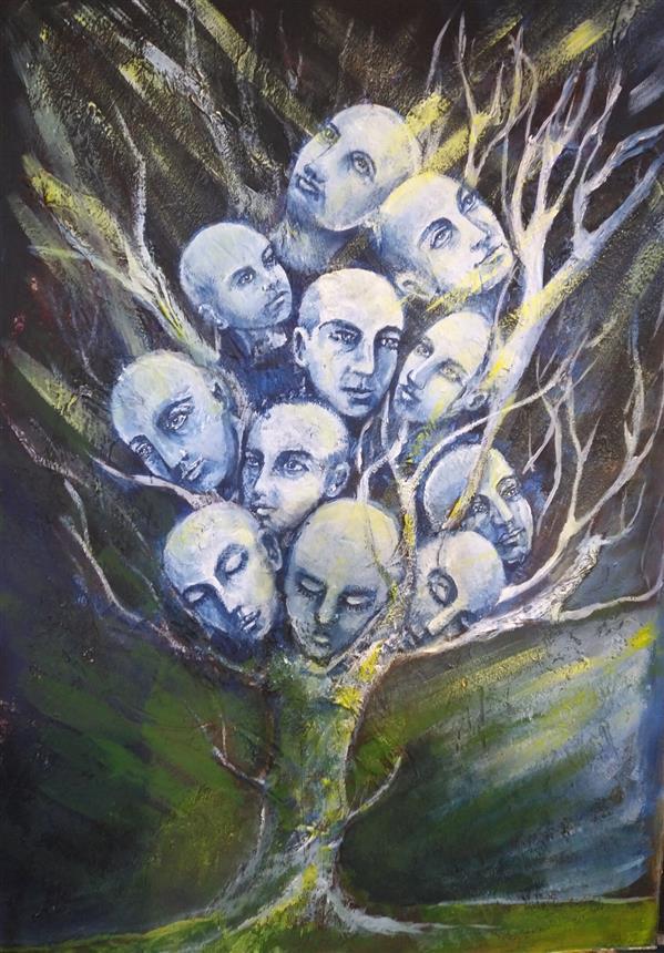 هنر نقاشی و گرافیک نقاشی سورئال کتایون عمادی #اکریلیک روی مقوا ماکت #a3
