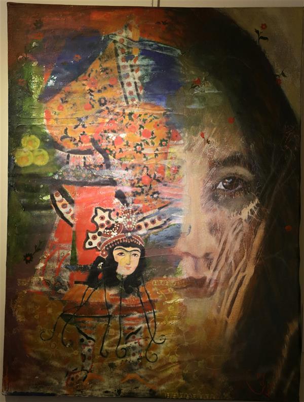 هنر نقاشی و گرافیک نقاشی سورئال حورا پیشقدم #با چشم هایش تجربه های غلیظ تاریکی  اکریلیک،  چاپ و پتینه روی بوم 80*60 #حوراپیشقدم