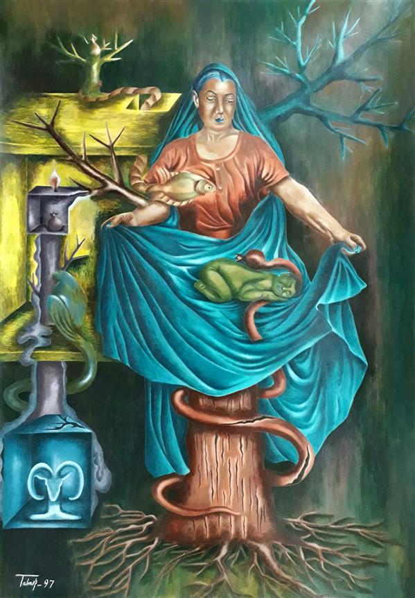 هنر نقاشی و گرافیک نقاشی سورئال  عادل طبری نام اثر : #زنانگیِ_خیال ابعاد اثر : 70*50 تکنیک اثر : #اکریلیک_روی_مقوا#فروخته_شد