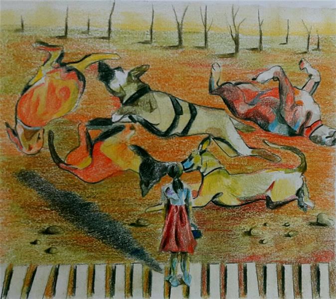 هنر نقاشی و گرافیک نقاشی سورئال سعید اکبرنژاد #بهت#مدادرنگی#سوررئال#غیر معمول