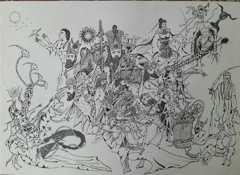 هنر نقاشی و گرافیک نقاشی سورئال محسن الله مرادی نقاشی کامل ذهنی کشیده شده با راپید مفهومی هر بینده ای میتواند یکه براداشتی از اثر بگیرد .