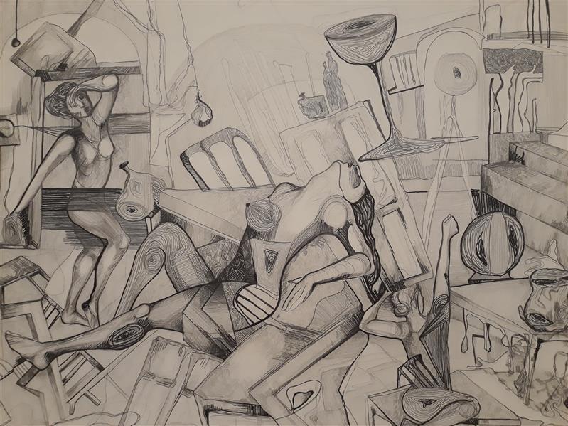 هنر نقاشی و گرافیک نقاشی سورئال حسنلو آشفتگی خیال #نقاشی #سورئال ابعاد 50×70 اثر#اورجینال