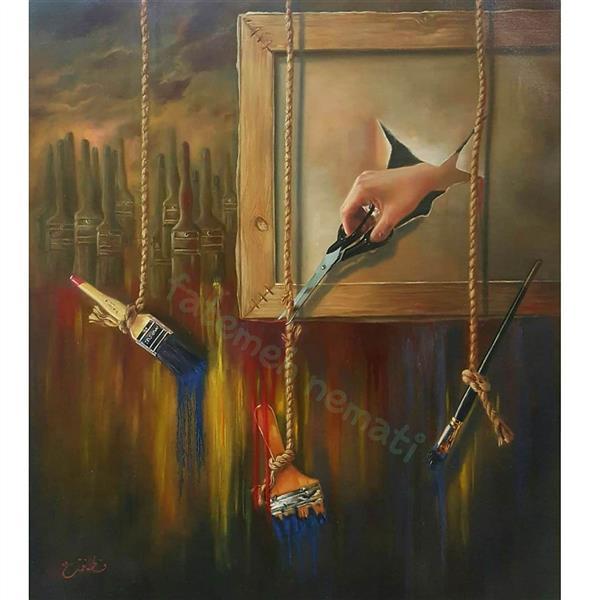 هنر نقاشی و گرافیک نقاشی سورئال فاطمه نعمتی اثر با تکنیک#رنگ و روغن در سایز ۶۰ در ۷۰ میباشد.