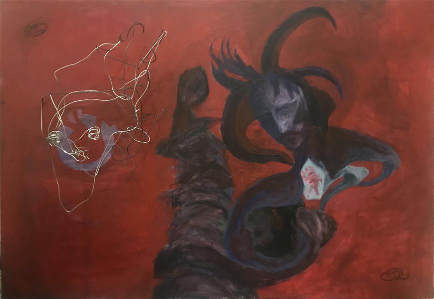 هنر نقاشی و گرافیک نقاشی سورئال soboof  اکرولیک و سیم مفتول برای حجم  ١٠٠*٧٠  نام : #اتاق_قرمز