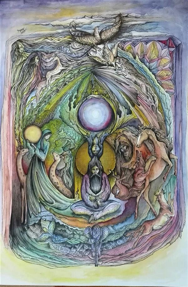 هنر نقاشی و گرافیک نقاشی سورئال سامان ملک پور ۵۰ در ۷۰ راپید  طراحی ذهنی تجسمی
