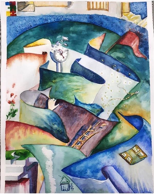 هنر نقاشی و گرافیک نقاشی سورئال کوثر امین جراحی #آبرنگ. آسه . کاملا بداهه و ذهنی