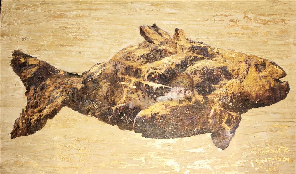 هنر نقاشی و گرافیک نقاشی سورئال mhg ترکیب مواد و ورق طلا ابعاد 120*80