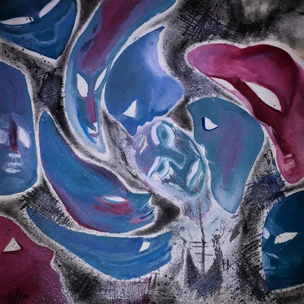 هنر نقاشی و گرافیک نقاشی سورئال میترا خیری Selfdom perception  ادراک خودیت با تکنیک #گواش سایز ۲۵×۲۵