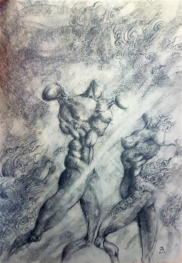 هنر نقاشی و گرافیک نقاشی سورئال امیرحسین بوژآبادی و بنگر بدن های لخت و عریانشان را که از انتظار رستاخیز پوسیده شده اند