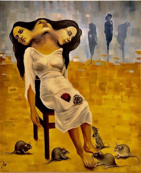 هنر نقاشی و گرافیک نقاشی سورئال ندا فروغ برزخ زندگی