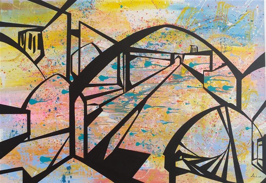 هنر نقاشی و گرافیک نقاشی سورئال مریم سادات آتشی #اکرلیک #سورئال #نمایی از #یزد ۱۰۰.۷۰