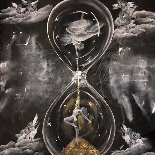 هنر نقاشی و گرافیک نقاشی سورئال ادنا صفری ۱۴۰*۱۴۰ نام اثر : پرفرمنس زندگی  زمان در گذر است  و خدا به انسان زمان بخشید تا رقص زندگیش را کامل کند و کمال را تجربه کند