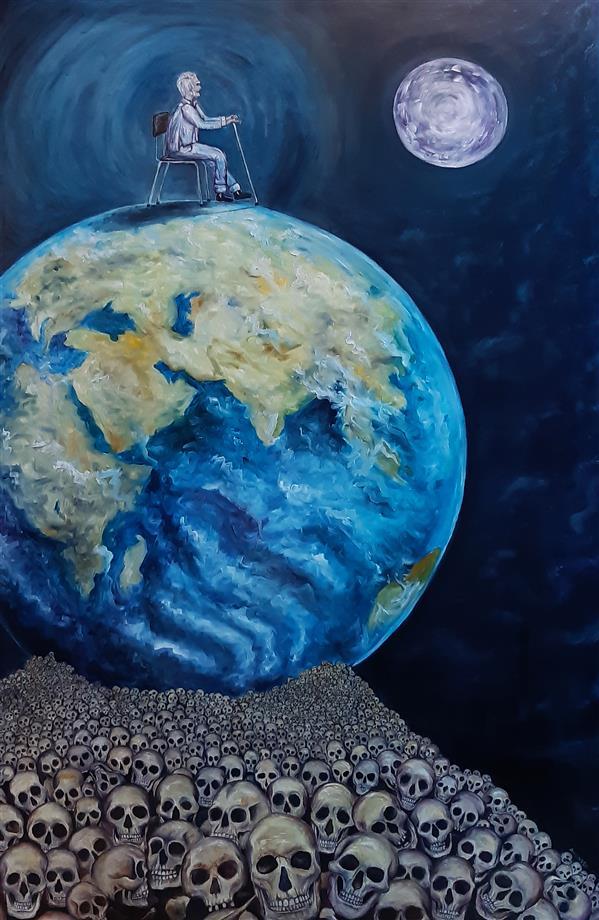 هنر نقاشی و گرافیک نقاشی سورئال آرمین مختاری نام : آخرین مرد تکنیک: #رنگ_روغن روی #بوم 100 در 150