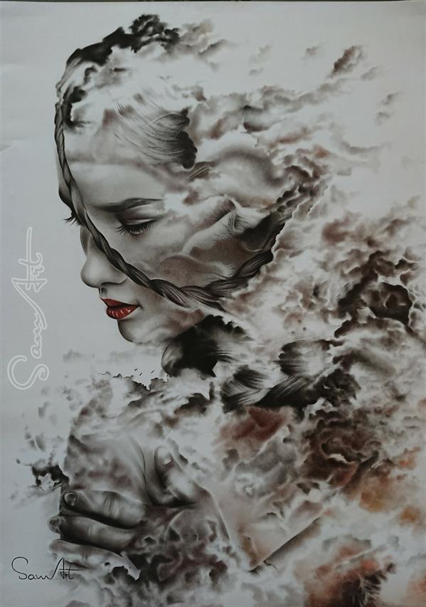 هنر نقاشی و گرافیک نقاشی سورئال SamArt #رها