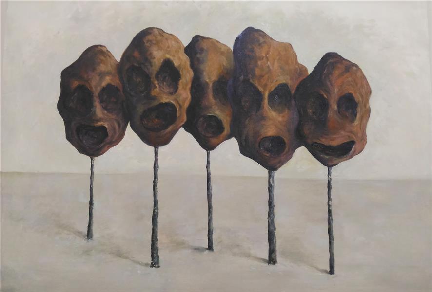 هنر نقاشی و گرافیک نقاشی سورئال ab-derakhshan رنگ روغن ۱۰۰*۷۰ #انسان#درخت #بی خردان