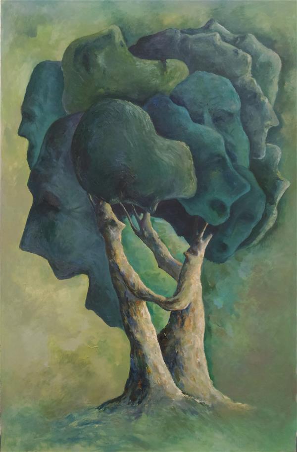 هنر نقاشی و گرافیک نقاشی سورئال ab-derakhshan #رنگ روغن ۱۰۰*۶۵# انسان #درخت#بی خردان
