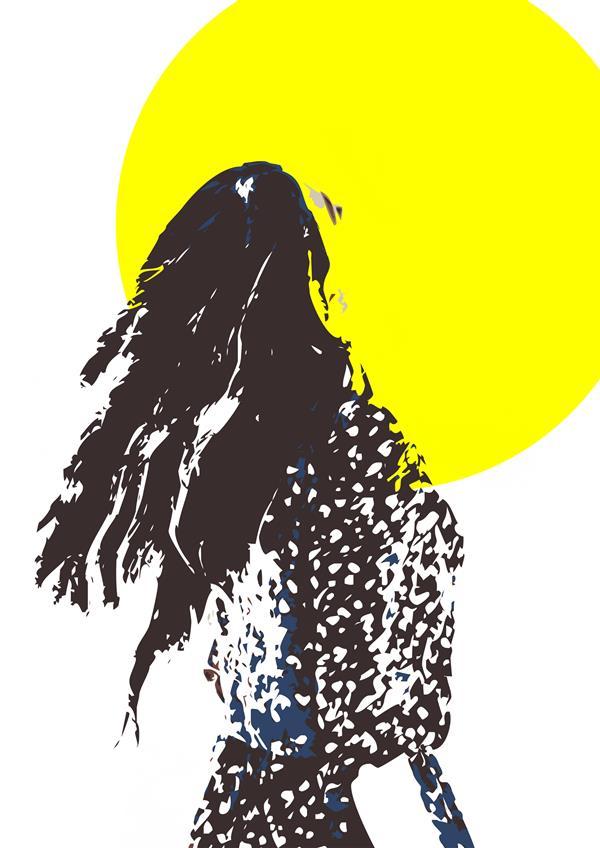 هنر نقاشی و گرافیک نقاشی سورئال سام کاویانی نام اثر : دختر آفتاب . متریال ؛ ترکیبی از چاپ سیلک ، گواش و اکرلیک