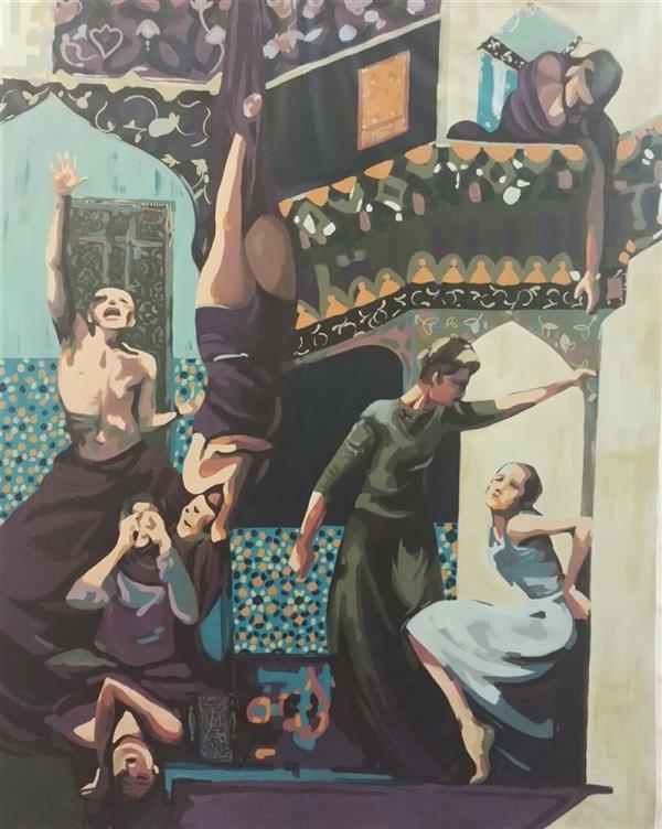 هنر نقاشی و گرافیک نقاشی سورئال الهام حسین پور #اکرلیک روی پارچه بوم ابعاد۱۱۰×۹۰ #فروخته_شد