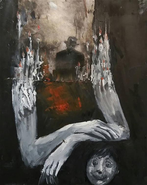 هنر نقاشی و گرافیک نقاشی سورئال سحرناز کتانی اکرلیک و رنگ روغن روی گلاسه ۲۰×۳۰