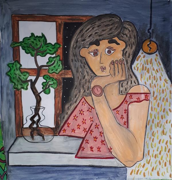هنر نقاشی و گرافیک نقاشی پنجره Emad Qanbari 90cmx90cm . رنگ روغن روی بوم