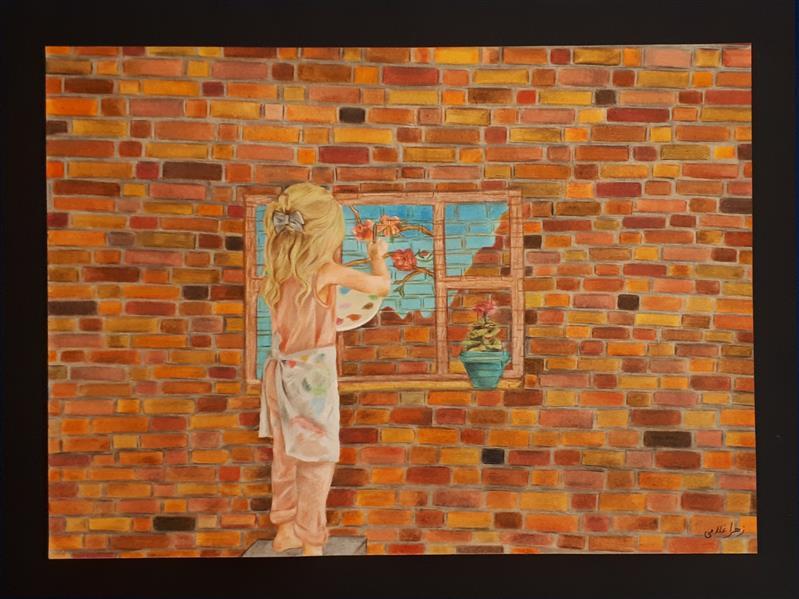 هنر نقاشی و گرافیک نقاشی پنجره زهرا غلامی باز کن #پنجره ها را و بهاران را باور کن تکنیک #مدادرنگی روی مقوا ابعاد: 28×38.5