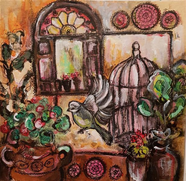 هنر نقاشی و گرافیک نقاشی پنجره نسترن انوری ابعاد: ۲۰×۲۰ سانتی متر تکنیک: اکریلیک و راپید