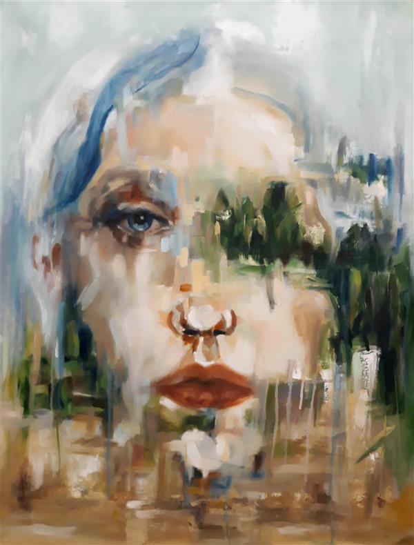 هنر نقاشی و گرافیک نقاشی پنجره حسنلو #نقاشی #رنگ_روغن #پرتره #بوم #ابعاد حدودا 70×50 ، اثر#اورجینال