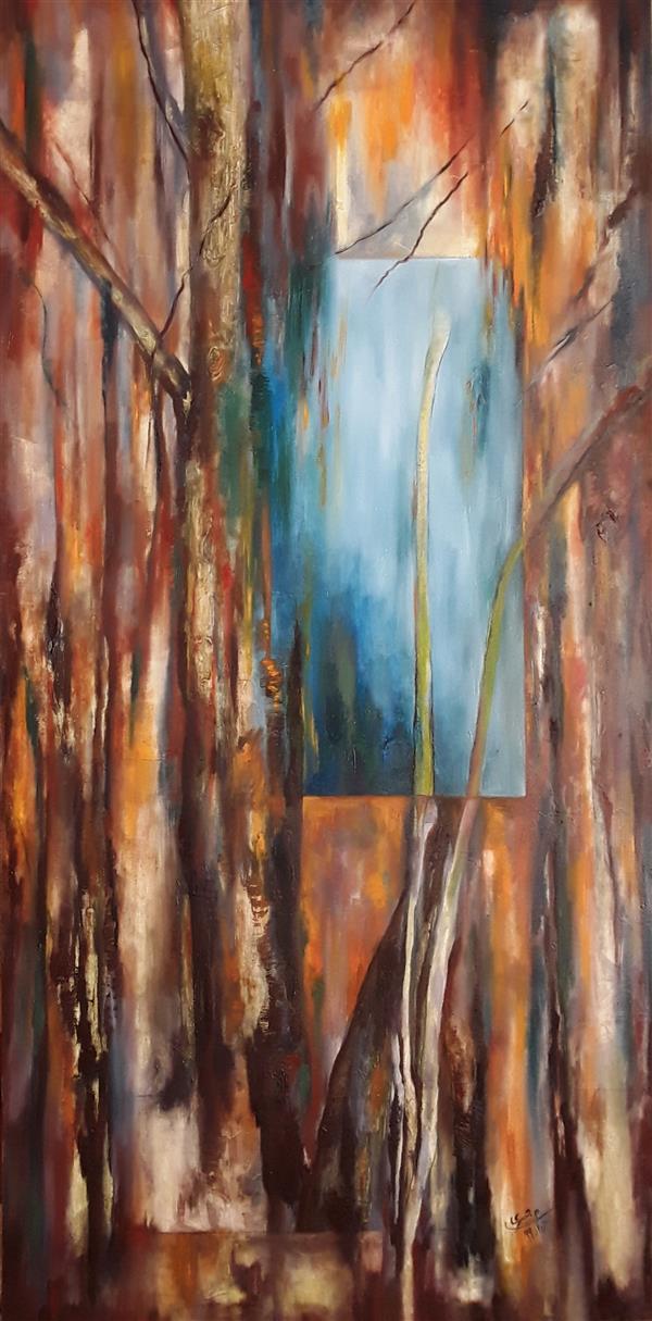 هنر نقاشی و گرافیک نقاشی پنجره مستانه جسری رنگ روغن روی بوم ۵۰*۱۰۰