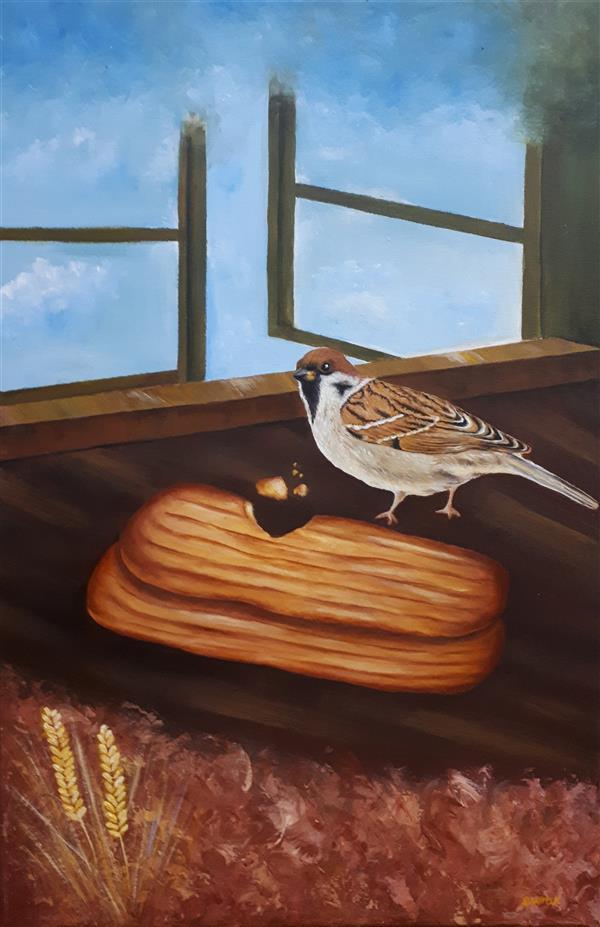 هنر نقاشی و گرافیک نقاشی پنجره فاطمه اورکی #نقاشی اکرولیک# ابعاد۴۰*۶۰ #پنجره# پرنده#نان#آسمان#پرواز