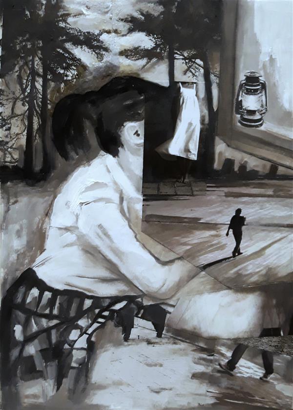 هنر نقاشی و گرافیک نقاشی پنجره Sahar - seyf توی تاریکی شب های بلند، تو چرا این همه دلتنگ شدی؟ #نقاشی #کلاژ #رنگ_روغن . ابعاد A4