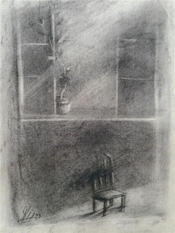 هنر نقاشی و گرافیک نقاشی پنجره سیدمحمد نقیب 17*22ذغال روی مقوا(  در ظلمتم تو نور پنجره ام باش  همچون صدای آرام یک نسیم)