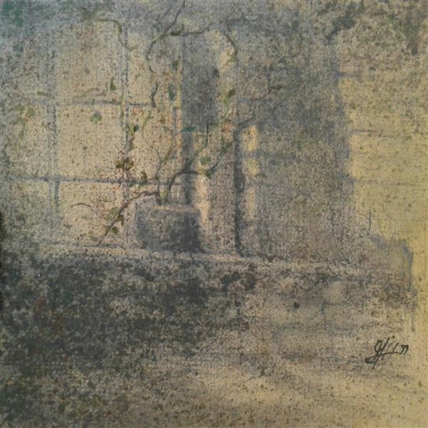 هنر نقاشی و گرافیک نقاشی پنجره سیدمحمد نقیب 17*17ترکیب مواد روی مقوا