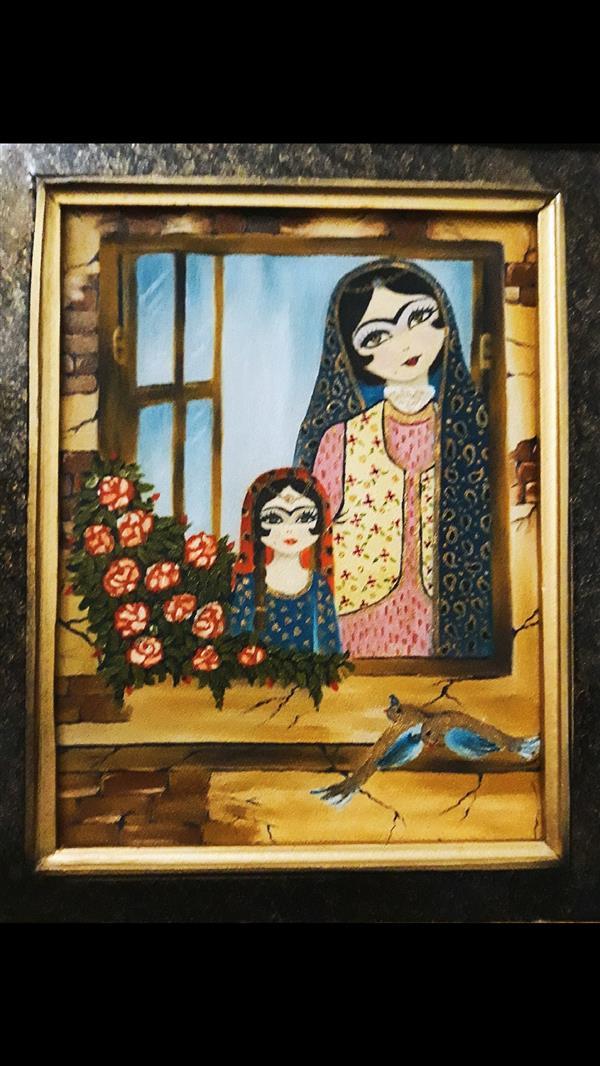 هنر نقاشی و گرافیک نقاشی پنجره سمانه دولتی # پنجره،بهاران،امید# سمانه دولتی # تکنیک رنگ روغن #